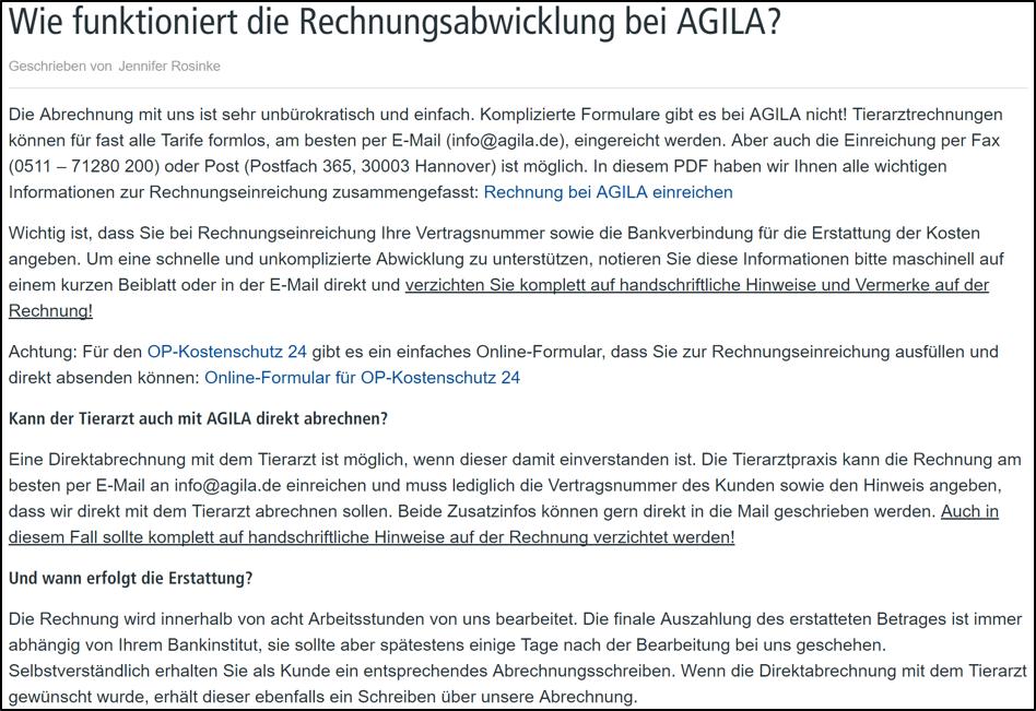 Rechnungsabwicklung Agila